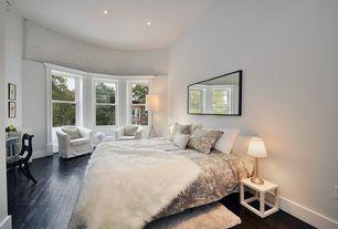 Contemporary Master Bedroom with Wildon Home Barrel Chair, Antico brick panel - white, Shag rug, Hardwood floors
