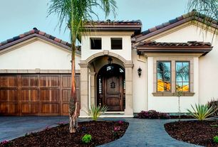 Mediterranean Front Door with Pathway, exterior stone floors, six panel door, Casement, Barn door