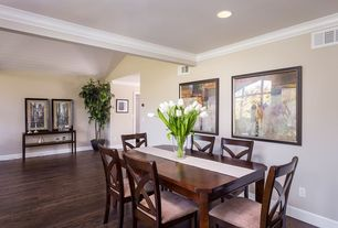 Traditional Dining Room with Crown molding, Hardwood floors
