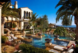 Mediterranean Swimming Pool with French doors, Pool with hot tub, Arched window, Fountain