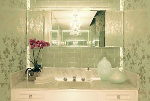 "Traditional Powder Room with Loft seafoam polished 3"" x 6"" glass tiles, Thibault ginko wallpaper - aqua, Chandelier, Casement"
