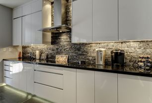 Contemporary Kitchen with full backsplash, One-wall, Corian counters, Wall Hood, can lights, Flush, Ceramic Tile, Paint 1