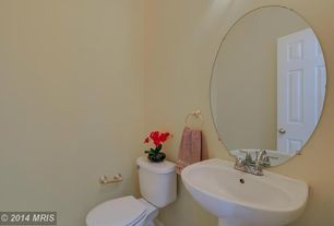 Traditional Powder Room with Powder room, High ceiling, Pedestal sink, six panel door