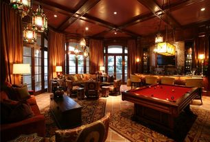Traditional Game Room with Standard height, Casement, Arched window, Pendant light, flush light, Box ceiling, can lights
