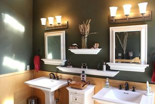"Traditional Master Bathroom with Flat panel cabinets, Kohler memoirs pedestal lavatory with stately design and 8"" centers"