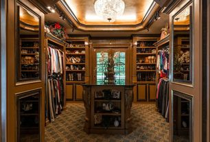Traditional Closet with Crown molding, flush light, Paint 1, Paint 3, Carpet, Paint 2, Standard height, Built-in bookshelf