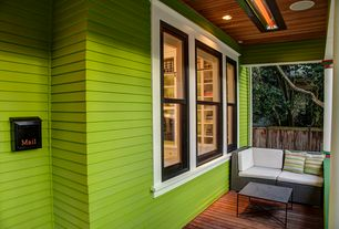 Traditional Porch with double-hung window, Pathway, Fence, Screened porch