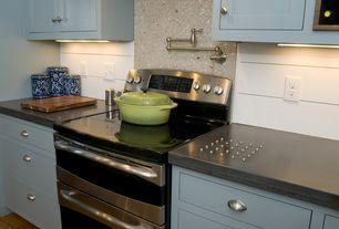 Modern Kitchen with European Cabinets, Flat panel cabinets, full backsplash, gas range, Quartz, Inset cabinets, One-wall