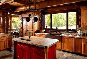 Rustic Kitchen with L-shaped, Pendant light, Pental - Crema Bordeaux Polished Granite, European Cabinets, Flat panel cabinets