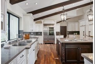 Traditional Kitchen with U-shaped, Exposed beam, Flat panel cabinets, Hardwood floors, Pendant light, High ceiling