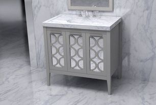 "Contemporary Full Bathroom with High ceiling, Simpli home paige 21"" single bathroom vanity set, Complex marble counters"