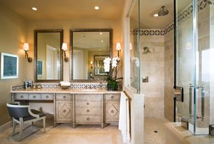 Eclectic Master Bathroom with Etta french country limed oak barrel back accent chair, Art desk, Rain shower, Wall sconce