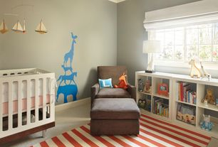 Contemporary Kids Bedroom with Gus Sparrow Glider, Land of Nod 8 x 10 Big Band Rug (Red), Mural, Carpet, Crown molding