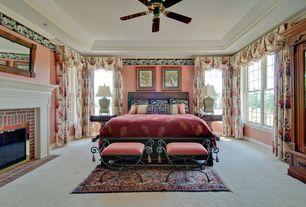 Traditional Guest Bedroom with Ceiling fan, High ceiling, Crown molding, Carpet, interior wallpaper