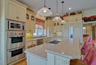 Country Kitchen with electric cooktop, Pendant light, double wall oven, full backsplash, Built In Panel Ready Refrigerator