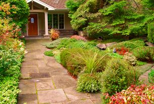 Traditional Landscape/Yard with Glass panel door, exterior stone floors, Pathway