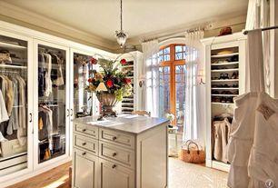 Traditional Closet with Hardwood floors, Pendant light, Kalco 4430B/1433 Black Mardi Gras 1 Light Mini Pendant, Arched window