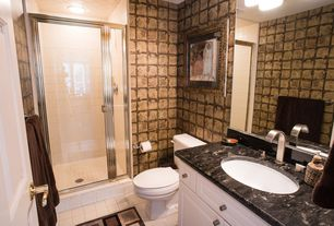 Eclectic 3/4 Bathroom with Complex granite counters, limestone tile floors, stone tile floors, specialty door, Shower, Flush