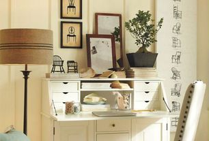 Traditional Home Office with Graham Secretary Desk Large White, Framed Vintage Chair Prints Set of 3