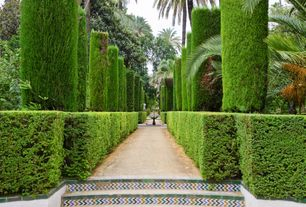 Traditional Landscape/Yard with Formal hedge, Tile stair risers, Tile with color zig zag, Alcazar palace, Garden of the poets