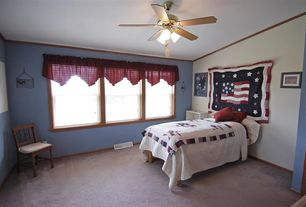 Craftsman Guest Bedroom with Carpet, Ceiling fan, Crown molding