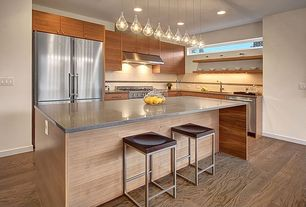 Contemporary Kitchen with Flush, Breakfast bar, Large Ceramic Tile, L-shaped, Pendant light, Kitchen island, Undermount sink