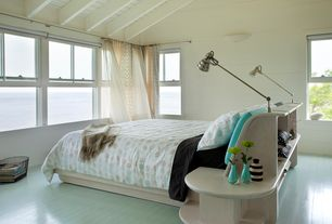 Modern Guest Bedroom with double-hung window, Wall sconce, Standard height, Exposed beam, Hardwood floors