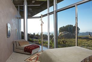 Modern Guest Bedroom with Concrete floors, Transom window