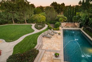 Contemporary Swimming Pool with Pathway, Lap pool, Raised beds, exterior stone floors