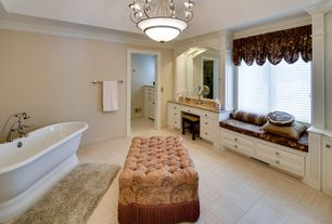 Traditional Master Bathroom with Simple granite counters, Chandelier, Freestanding, Simple Granite, Flat panel cabinets