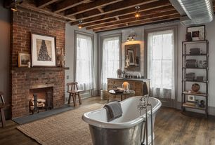 "Eclectic Master Bathroom with Hardwood floors, 67"" dorset bateau cast iron skirted tub - stainless steel skirt, Exposed beam"