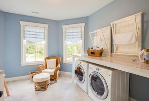Cottage Laundry Room with Madison Fold-Down Wall-Mounted Laundry Drying Rack, Undermount sink, limestone tile floors
