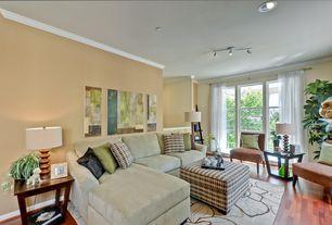 Modern Living Room with Crown molding, Built-in bookshelf, Hardwood floors, KAS Oriental Rugs Bali Beige Lily Area Rug