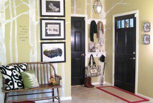 Traditional Entryway with travertine tile floors, Glass panel door, six panel door, Mural, stone tile floors, Standard height