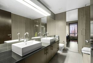Contemporary Master Bathroom with Master bathroom, Stone Tile, Standard height, Shower, Wall Tiles, Vessel sink, Double sink