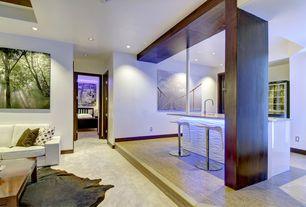 Contemporary Basement with Concrete floors, Mural, Modular arts dune tiles, HEMNES Queen Bed frame, black-brown, Wainscotting