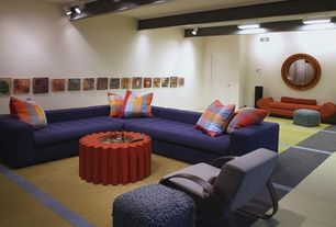 Eclectic Basement with Carpet, flush light, Exposed beam, Hopson L-Sectional