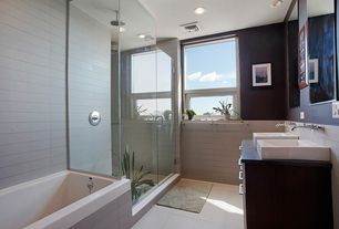 Contemporary Master Bathroom with Double sink, Inset cabinets, Soapstone counters, Vessel sink, European Cabinets