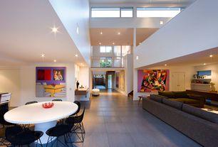 "Contemporary Living Room with Solus Concrete Tile, High ceiling, Concrete tile , Jackson 134"" Corner Sectional"