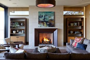 Contemporary Living Room with Hardwood floors, French doors, Pendant light