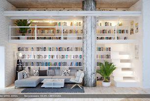 Contemporary Great Room with Antonella italia tinos coffee table, Exposed beam, Delray plants sago palm in pot, Loft, Columns