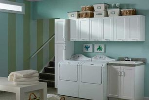 Contemporary Laundry Room with laundry sink, Built-in bookshelf, The Container Store Open Canvas Bins, Drop-in sink, Carpet