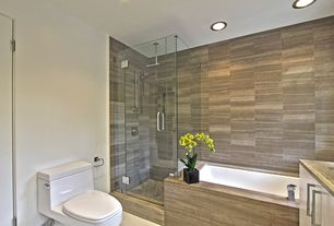 Contemporary Full Bathroom with Rain shower, Flush, frameless showerdoor, Undermount sink, Rectangular Shower Enclosure