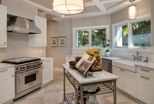 Contemporary Kitchen with The Orleans Kitchen Island with Marble Top, Pendant light, Standard height, dishwasher, Flush