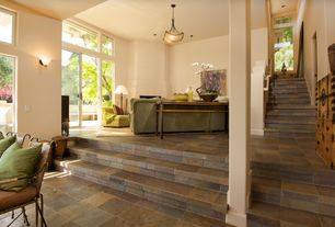 Contemporary Staircase with slate floors, Columns