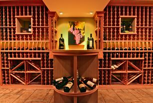 Traditional Wine Cellar with Concrete tile , Standard height, can lights, Built-in bookshelf