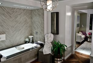 Contemporary Master Bathroom with Standard height, Pendant light, can lights, Master bathroom, Wall Tiles, Bathtub