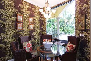 Tropical Dining Room with Hardwood floors, interior wallpaper, Crown molding, Chandelier