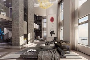 Contemporary Great Room with flush light, Loft, Built-in bookshelf, Chandelier, Cathedral ceiling, Hardwood floors
