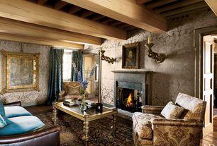 Eclectic Living Room with Exposed beam, Standard height, Hardwood floors, French doors, Fireplace, specialty door, Casement